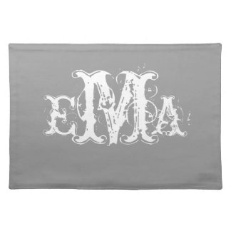 Grunge Chic Personalized Monogram Placemat Cloth Placemat