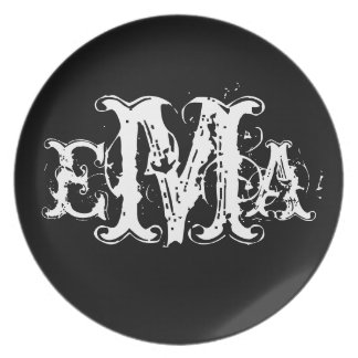Grunge Chic Personalized Monogram Plate