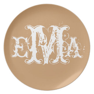 Grunge Chic Personalized Monogram Plate