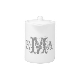 Grunge Chic Personalized Monogram Teapot