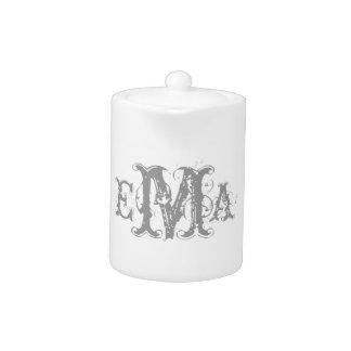 Grunge Chic Personalized Monogram Teapot