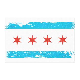 Grunge Chicago Flag Canvas Print