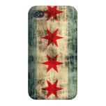 Grunge Chicago Flag Form Fit iPhone 4 Case