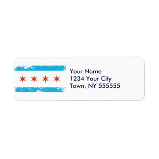 Grunge Chicago Flag Label