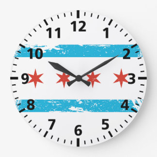 Grunge Chicago Flag Large Clock