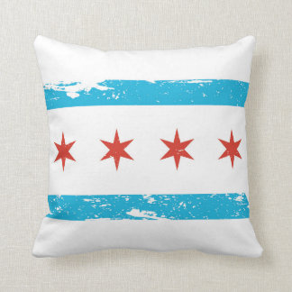 Grunge Chicago Flag Throw Pillow