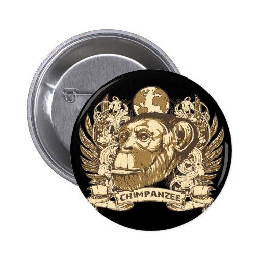 Grunge Chimpanzee 2 Inch Round Button