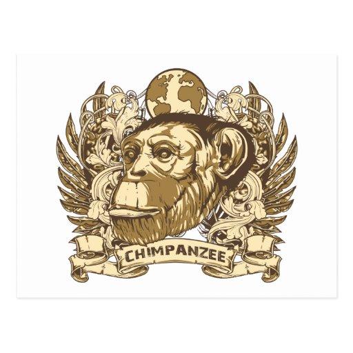 Grunge Chimpanzee Postcard