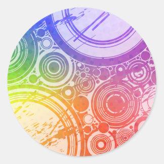 Grunge Circles: Rainbow Edition: Classic Round Sticker