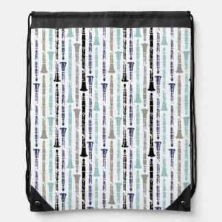Grunge Clarinets - Blue and Gray Drawstring Bag