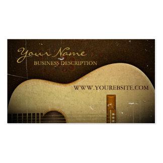 Grunge clásico elegante del vintage de la guitarra tarjeta de visita
