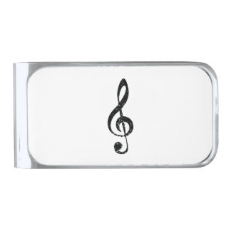 Grunge clef silver finish money clip
