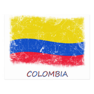 Grunge Colombia Flag Postcard