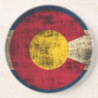 Grunge Colorado Flag Beverage Coasters