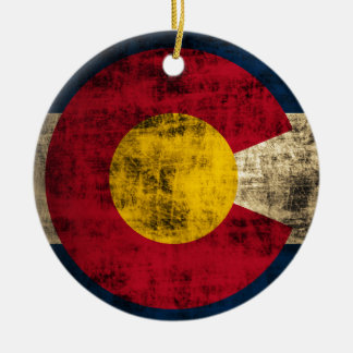 Grunge Colorado Flag Ceramic Ornament