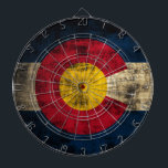 "Grunge Colorado Flag Dartboard With Darts<br><div class=""desc"">Here we have our custom designed Grunge Colorado Flag Dart Board</div>"