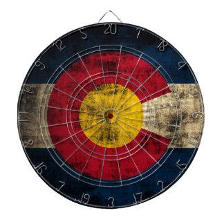 Grunge Colorado Flag Dartboard With Darts