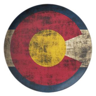 Grunge Colorado Flag Melamine Plate