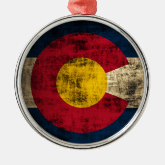 Grunge Colorado Flag Metal Ornament