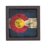 Grunge Colorado Flag Premium Keepsake Box