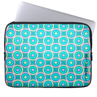 grunge colorful circles pattern with text laptop sleeve