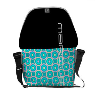 grunge colorful circles pattern with text messenger bag
