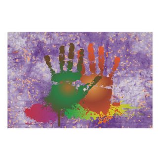 Grunge Colorful Hands Poster