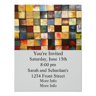 Grunge Colorful Painted Squares Design 4.25x5.5 Paper Invitation Card