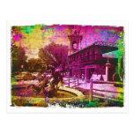Grunge colorido de la fuente de Neptuno del Postal