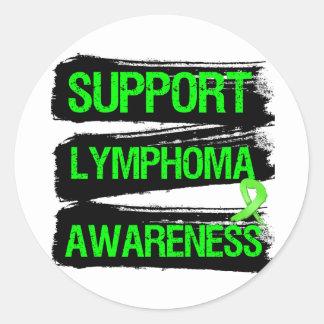 Grunge - conciencia del linfoma de la ayuda etiqueta redonda