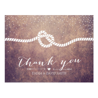 Grunge Confetti Dots Tying the Knot Thank You Postcard