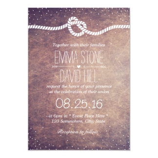 Grunge Confetti Dots Tying the Knot Wedding 5x7 Paper Invitation Card