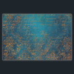 """Grunge Copper Patina and Turquoise Calligraphy Tissue Paper<br><div class=""""desc"""">Antique typography tissue paper in accents of black and teal.</div>"""