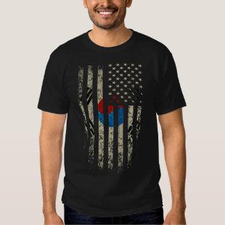 Grunge coreano de la bandera americana playera
