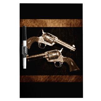 Grunge Cowboy Retro Western Country Pistols Dry-Erase Board