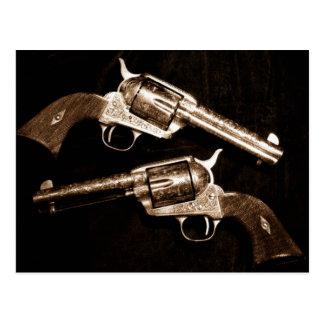 Grunge Cowboy Retro Western Country Pistols Postcard
