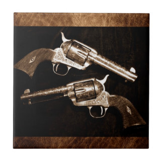 Grunge Cowboy Retro Western Country Pistols Tile