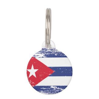 Grunge Cuba Flag Pet ID Tag