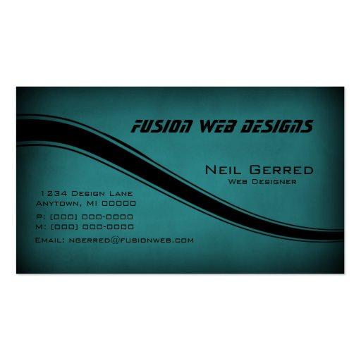 Grunge Curves Business Card, Teal