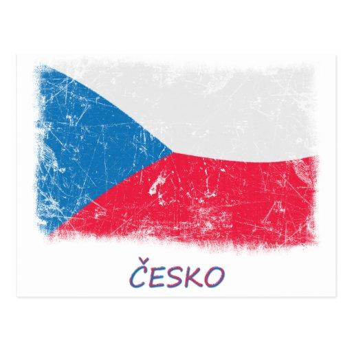 Grunge Czech Republic Flag Postcard