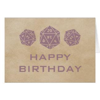 Grunge D20 Dice Gamer Birthday Card, Purple Card
