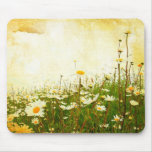 Grunge Daisies Mouse Pad