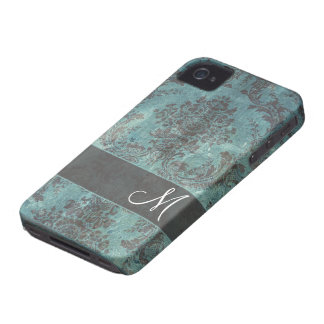 grunge damask Pattern with Monogram iPhone 4 Cover