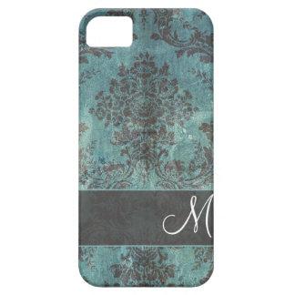grunge damask Pattern with Monogram iPhone SE/5/5s Case