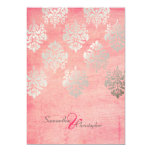 Grunge Damask/pink/faux silver wedding invitations