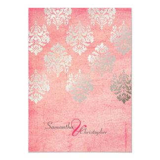Grunge Damask/pink/faux silver wedding invitations