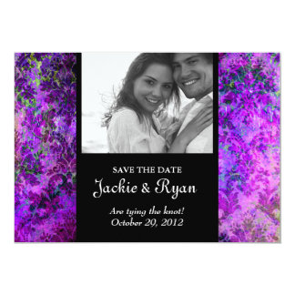 Grunge Damask Wedding Invite Save the Date Purple