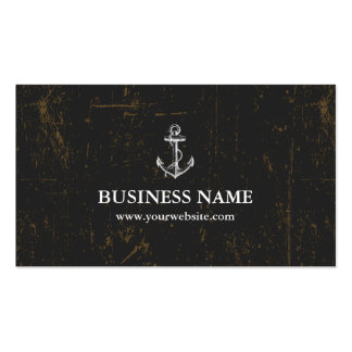 Grunge Dark Nautical Anchor Double-Sided Standard Business Cards (Pack Of 100)