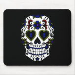Grunge Day of the Dead Blue & Red Mouse Pad