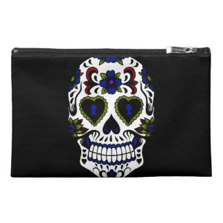 Grunge Day of the Dead in Blue & Red Travel Accessory Bag